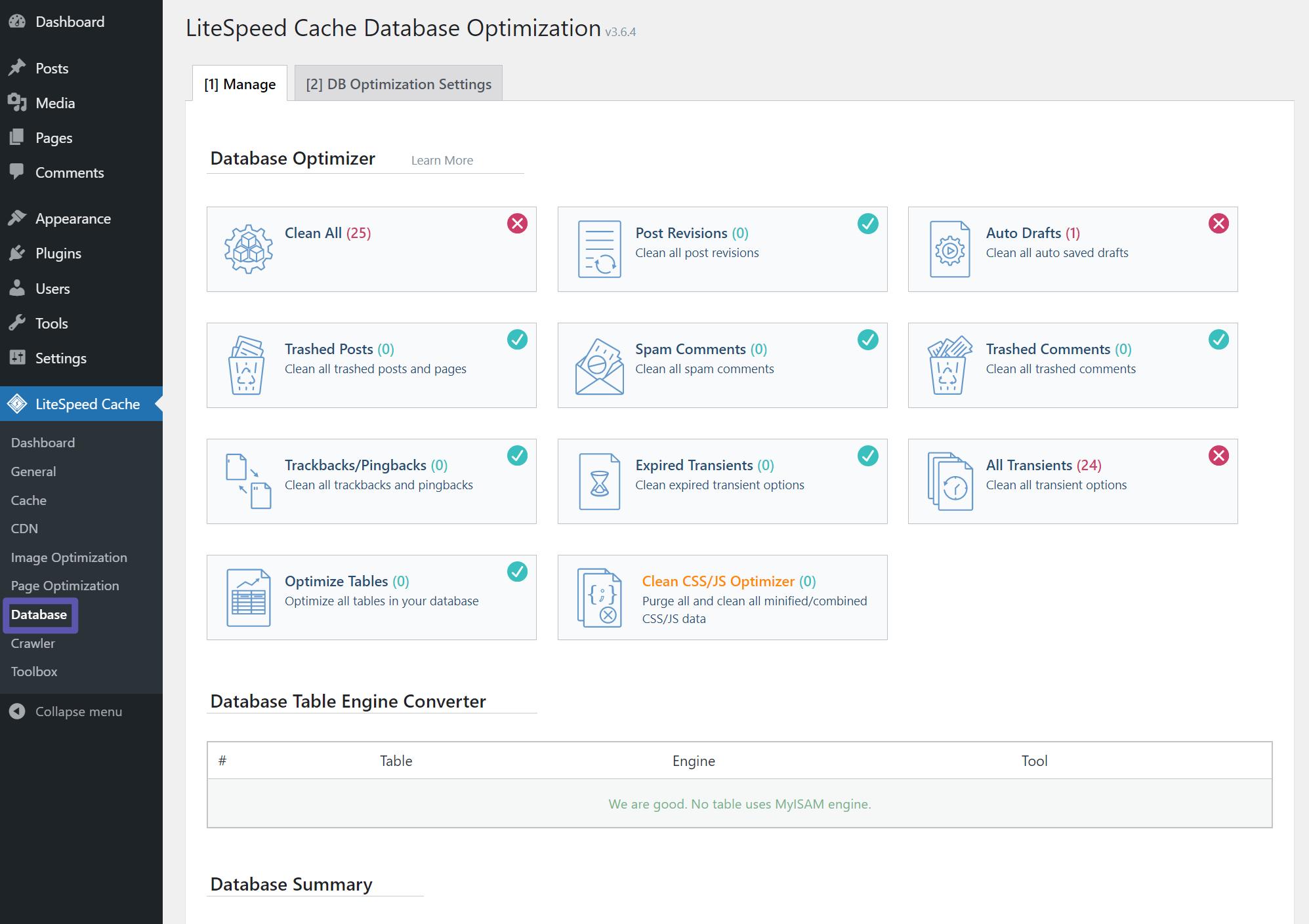 LiteSpeed Cache Database Optimisation Page Manage Tab