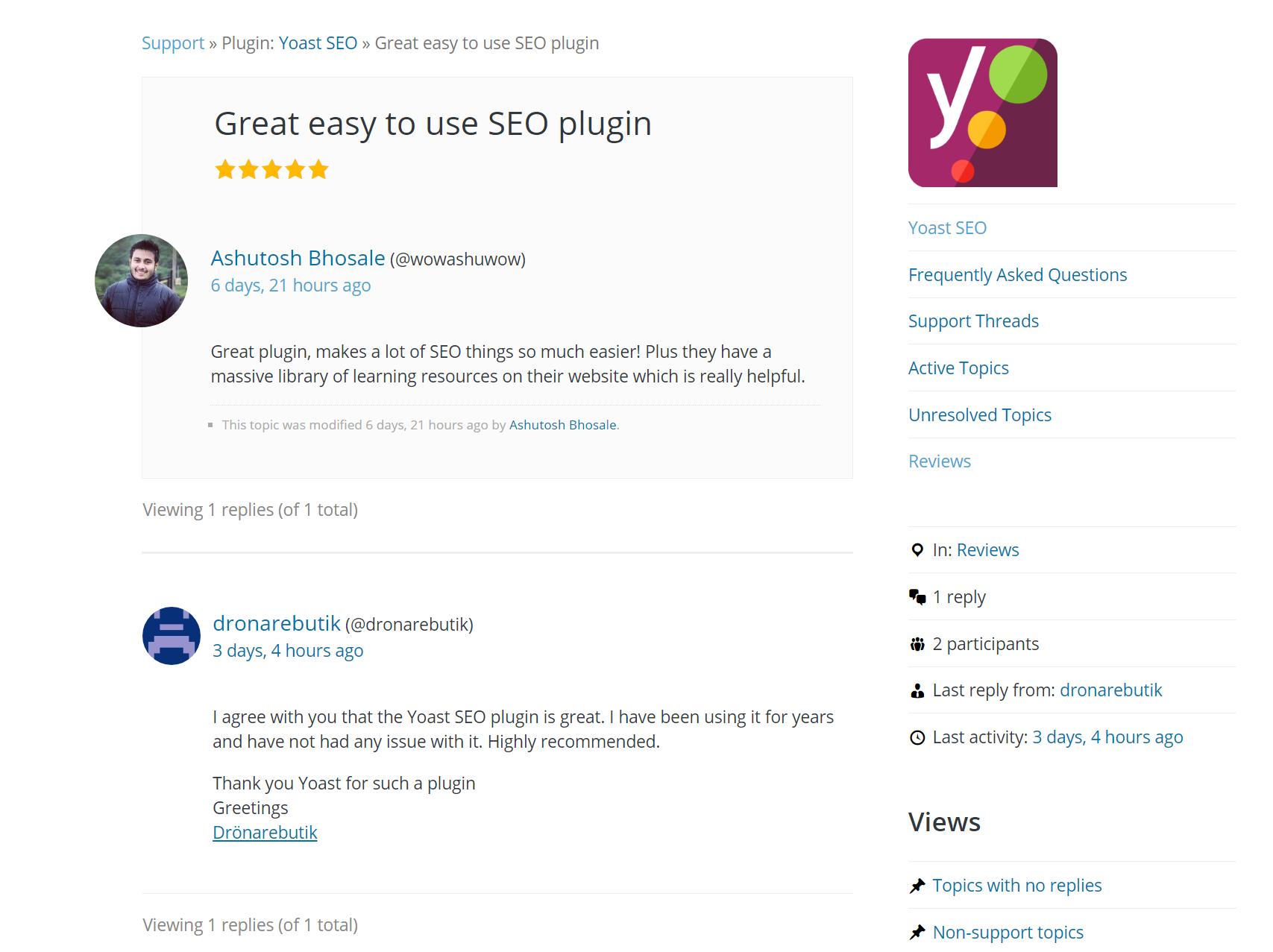 Individual user reviews for a WordPress plugin