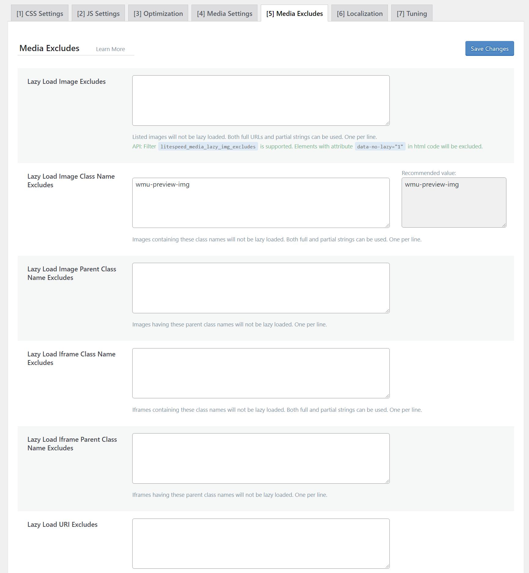 LiteSpeed Cache Media Excludes Tab