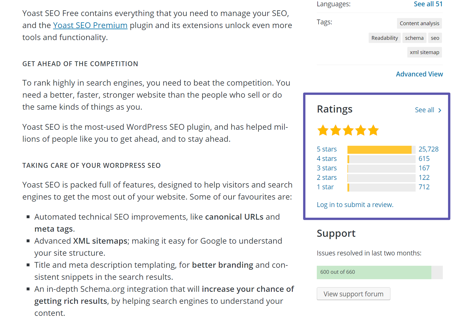 Positive review rating for a WordPress plugin
