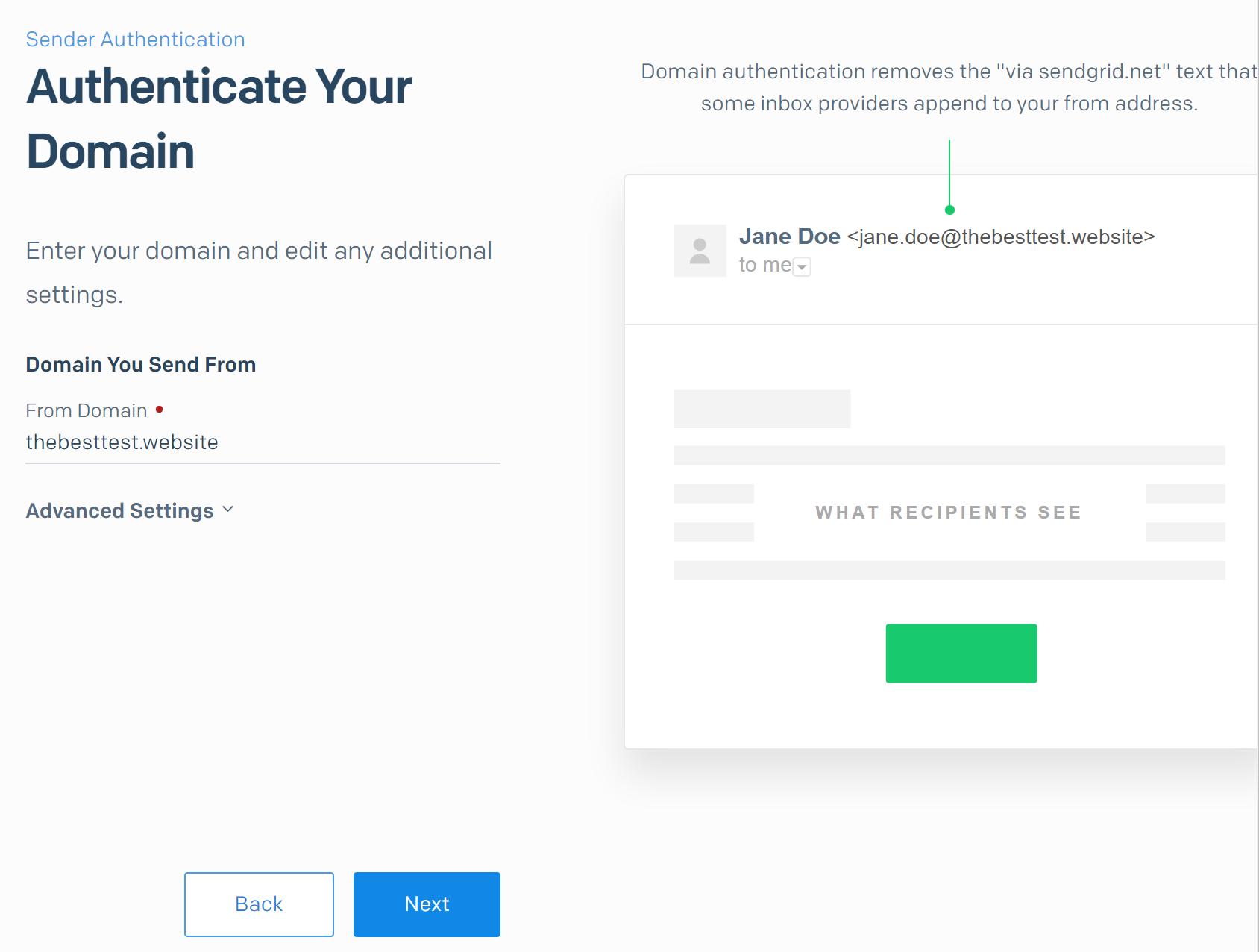 Sender Authentication Domain