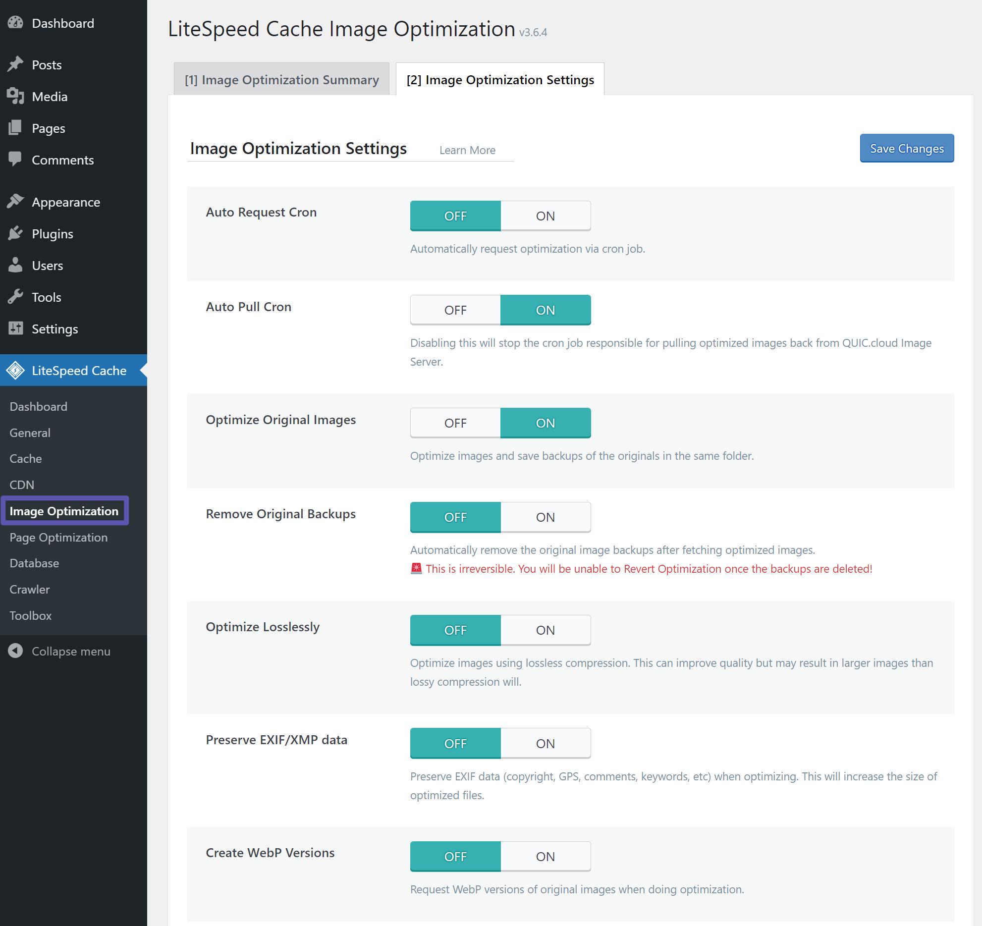 LiteSpeed Cache Image Optimisation Settings Tab